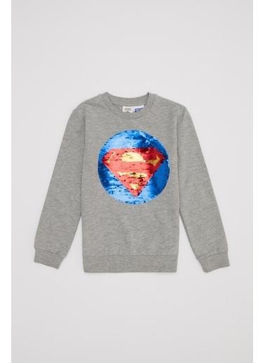 DeFacto Erkek Çocuk Pul Payetli Süperman&Batman Lisanslı Sweatshirt Gri